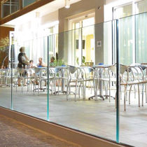 Glass railing / metal / with panels / outdoor