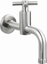 Wall-mounted single tap / stainless steel / standard / bathroom