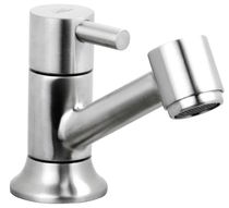 Washbasin single tap / free-standing / stainless steel / bathroom