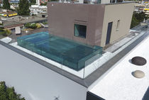Semi-inground swimming pool / glass / stainless steel / for hotels