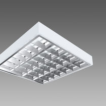 Surface-mounted light fixture / fluorescent / square / aluminum