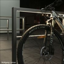 Stainless steel bike rack / with integrated LED lighting / for public spaces