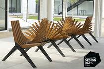 Public bench / original design / wooden / galvanized steel