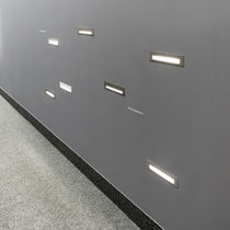 Recessed wall light fixture / LED / linear / aluminum
