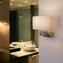 Contemporary wall light / leather / chromed metal / nickel