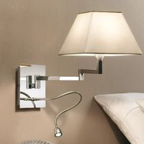 Contemporary wall light / leather / brass / chromed metal