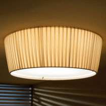 Contemporary ceiling light / round / stainless steel / cotton