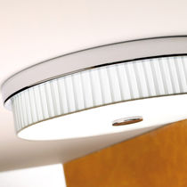 Contemporary ceiling light / round / metal / cotton