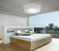 Contemporary ceiling light / round / metal / compact fluorescent
