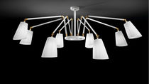 Contemporary chandelier / brass / chrome / fabric