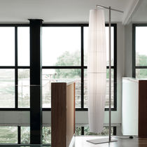 Contemporary light column / metal / fabric / polyester