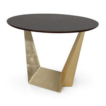 Contemporary dining table / metal / round