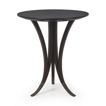 Contemporary pedestal table / wooden / round