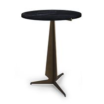 Contemporary pedestal table / metal / round