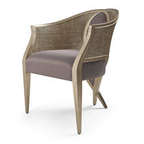 Classic chair / upholstered / with armrests / rattan