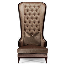 Traditional armchair / leather / wing / high back