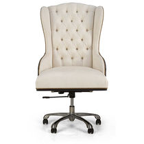 Traditional executive chair / leather / swivel / star base