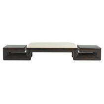 Contemporary upholstered bench / leather / gray