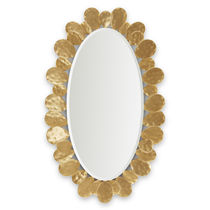 Wall-mounted mirror / traditional / oval / wooden