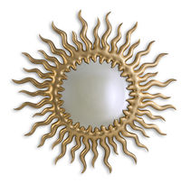 Wall-mounted mirror / traditional / round / wooden