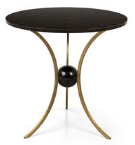 Traditional pedestal table / wooden / metal / round