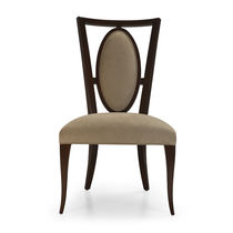 Traditional dining chair / upholstered / wooden