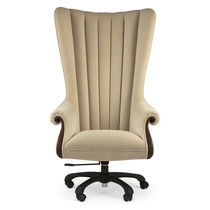 Traditional executive chair / fabric / mahogany / solid wood
