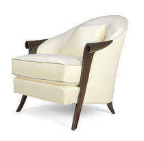 Traditional armchair / fabric / solid wood