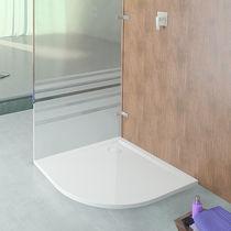 Corner shower base / cast / extra-flat / non-slip