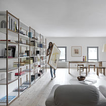 Contemporary bookcase / solid wood / lacquered MDF