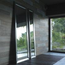 Wall-mounted mirror / contemporary / rectangular / aluminum