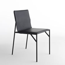 Contemporary dining chair / leather / lacquered steel