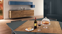 Dining table / square / contemporary / wood