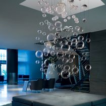 Contemporary ceiling light / square / stainless steel / blown glass