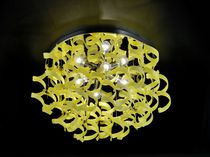 Contemporary ceiling light / round / glass / metal