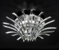 Contemporary ceiling light / round / crystal / halogen