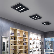 Surface-mounted light fixture / LED / square / glass