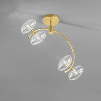 Contemporary ceiling light / glass / chromed metal / LED