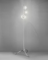 Floor-standing lamp / contemporary / chromed metal / glass