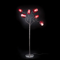 Floor-standing lamp / contemporary / glass / red