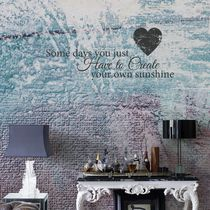 Contemporary wallpaper / washable / text / sky blue