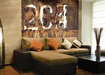 Contemporary wallpaper / patterned / metallic / metal look