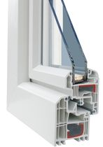 Casement window / PVC / double-glazed