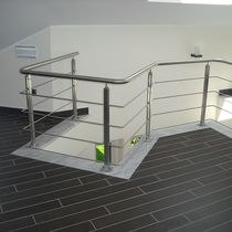 Stainless steel railing / with bars / indoor / for mezzanines