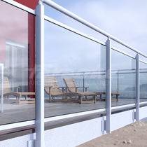 Aluminum railing / glass panel / outdoor / for balconies