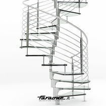 Spiral staircase / glass steps / stainless steel frame / without risers
