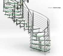 Helical staircase / glass steps / metal frame / without risers