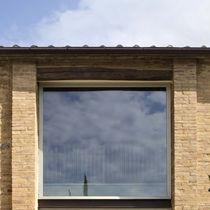 Wooden patio door / quadruple-glazed / thermal break / acoustic