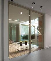 Sliding patio door / aluminum / quadruple-glazed / thermal break