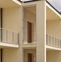 Aluminum solar shading / wooden / for facades / horizontal